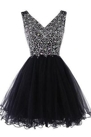 Sparkly Classy Short Sleeveless Cute V-Neck Beaded Tulle Crystals Homecoming Dresses JS772