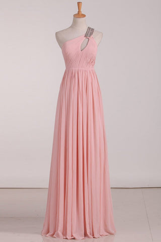 2019 Chiffon One Shoulder Bridesmaid Dresses With Beads And Ruffles A Line