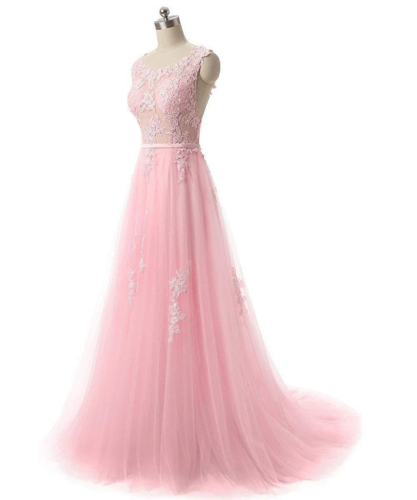 Pretty tulle lace round neck A-line open back long prom dress