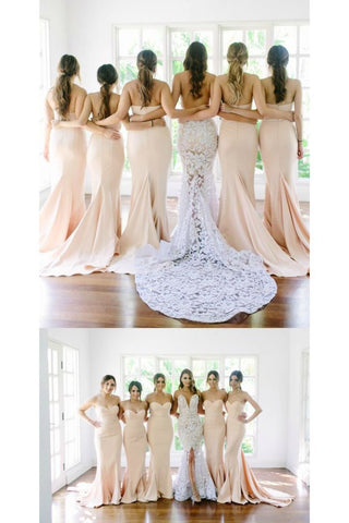 2020 Bridesmaid Dresses Mermaid Sweetheart Satin Sweep