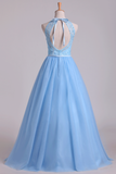 2019 Halter A Line/Princess Prom Dresses With Long Tulle Skirt