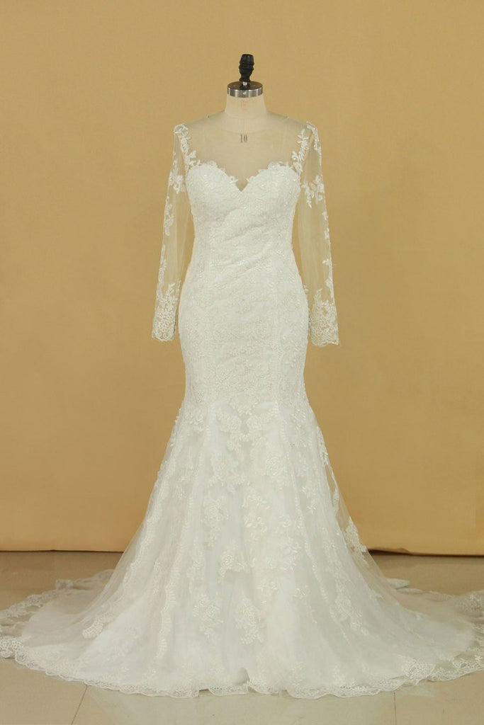 2021 Mermaid Scoop With Applique Long Sleeves Wedding Dresses Tulle Court Train