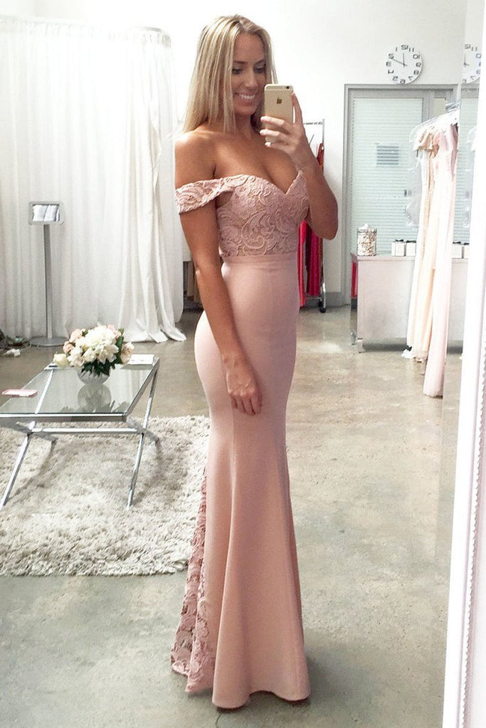 2019 Prom Dresses Mermaid Off The Shoulder Elastic Satin & Lace Sweep