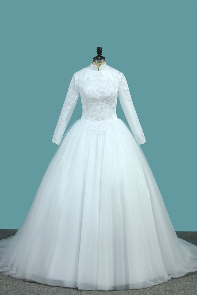 2020 A Line Tulle Long Sleeves High Neck Wedding Dresses With Applique Sweep