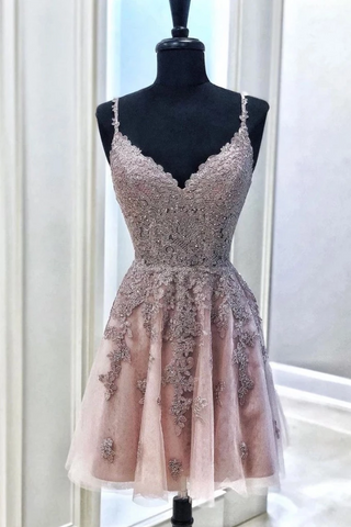 Tulle Appliques Spaghetti Straps Short Prom Dress, Mini Party