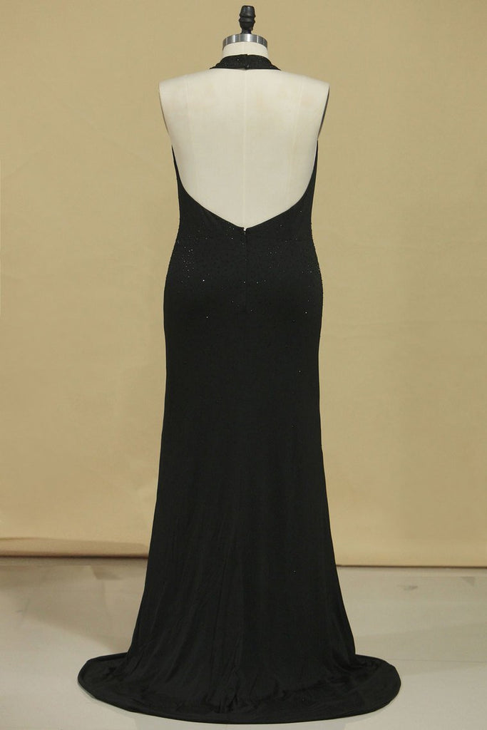 2020 New Arrival Black Halter Prom Dresses Mermaid With Beading Black Spandex