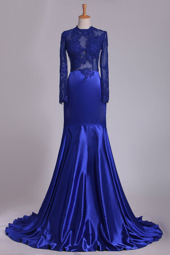 2020 Long Sleeve Evening Dresses Mermaid/Trumpet Elastic Satin With Applique Dark Royal Blue