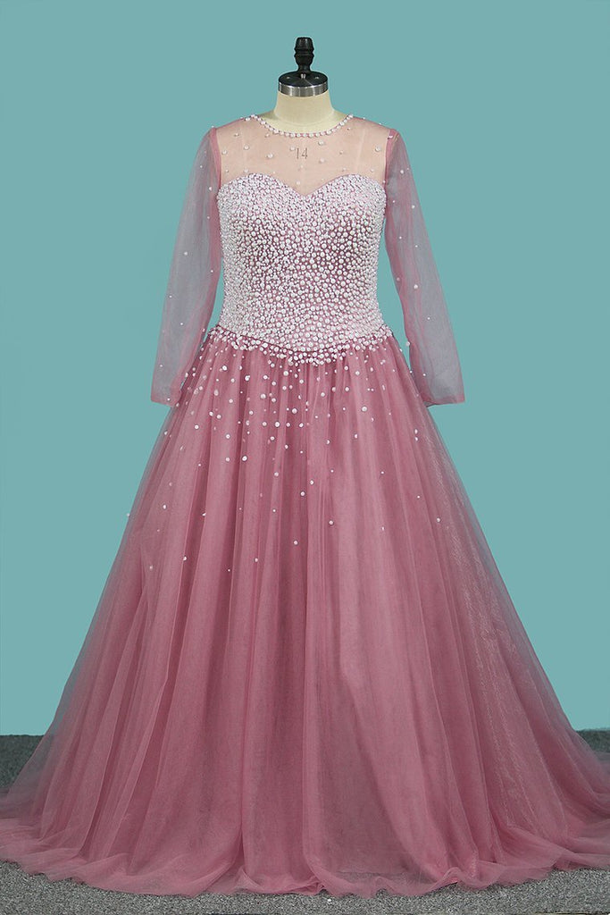 2020 A Line Scoop Long Sleeves Tulle With Pearls Sweep Train