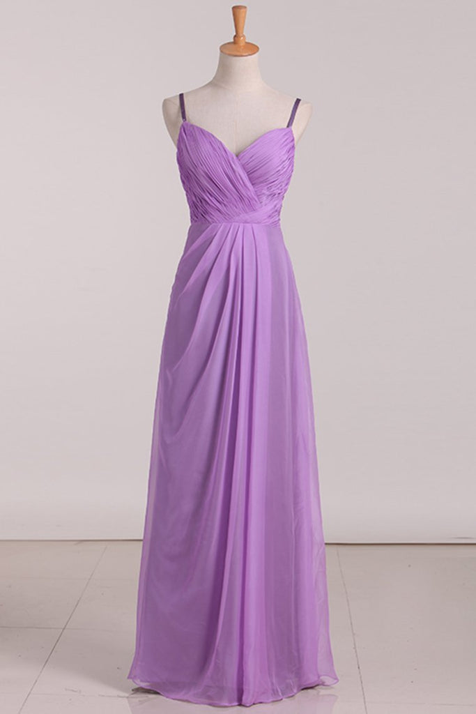 2020 Bridesmaid Dresses A Line Spaghetti Straps With Ruffles Organza
