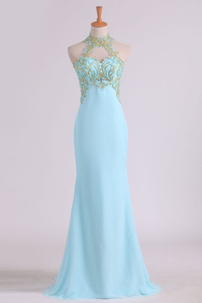 Sheath Open Back High Neck Chiffon With Applique And Beads Prom