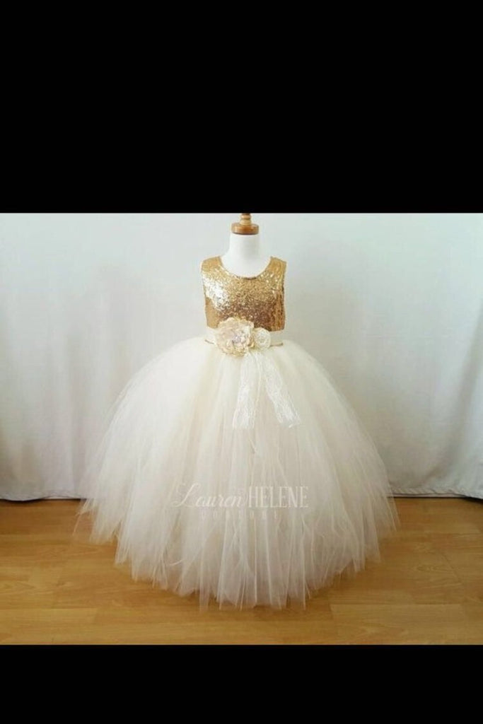 2020 Flower Girl Dresses A Line Scoop Tulle & Sequin With