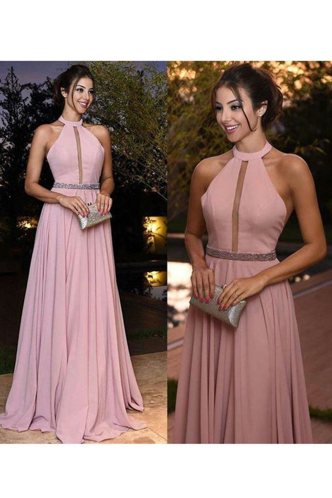 2020 Halter A Line Prom Dresses Beaded Waistline Sweep Train