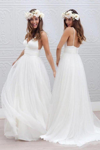 Simple V-neck Floor-Length Wedding Dress With Ruched Sash SME054