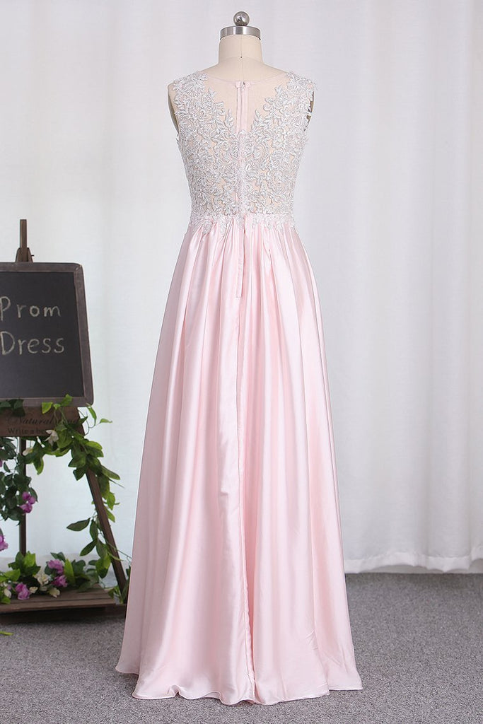 2019 New Arrival A Line Scoop Chiffon Bridesmaid Dresses With Applique And