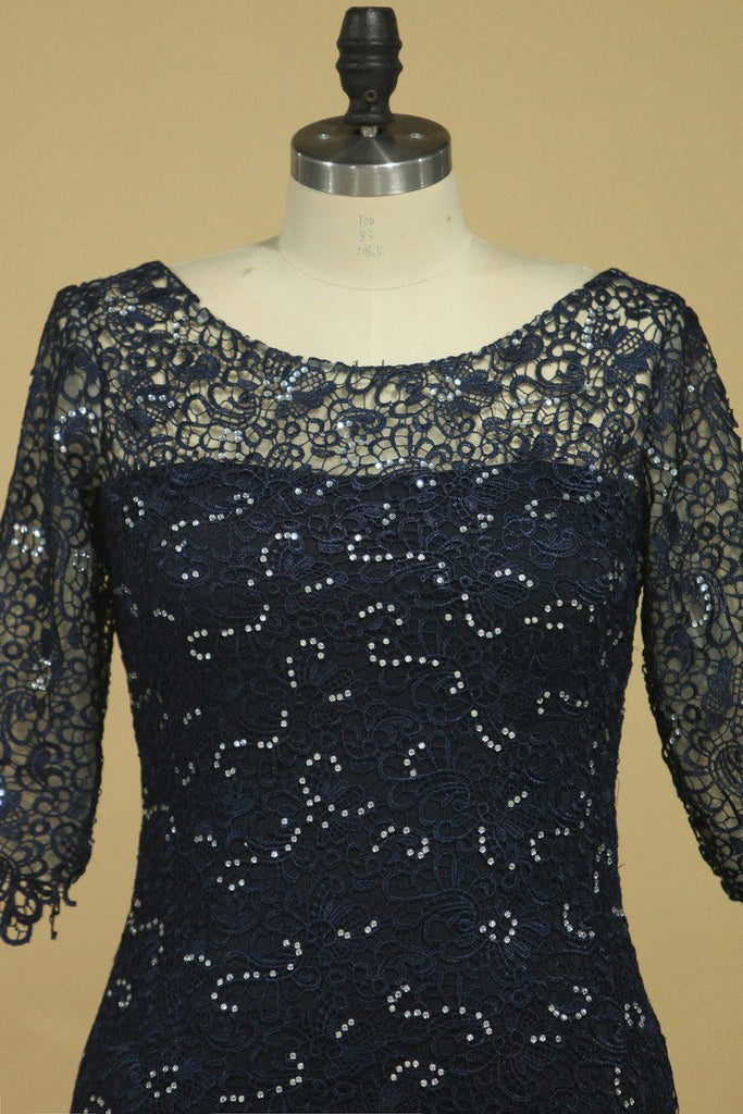 2020 Mother Of The Bride Dresses Scoop 3/4 Length Sleeve Dark Navy Spandex & Lace With Beads