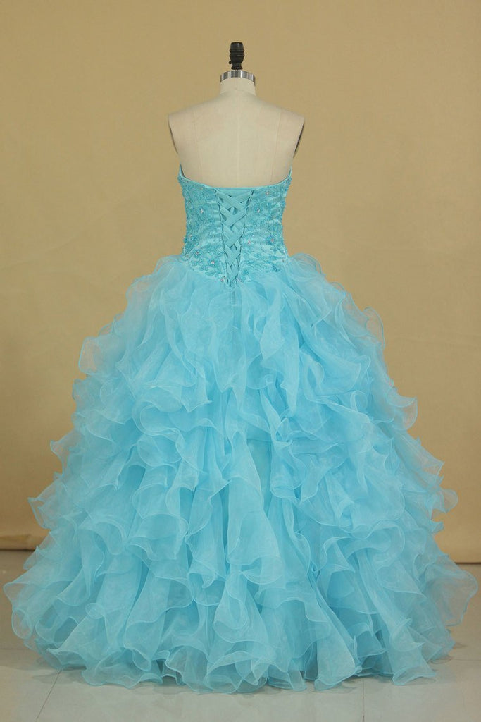 2019 Sweetheart Beaded Bodice Organza Quinceanera Dresses Floor