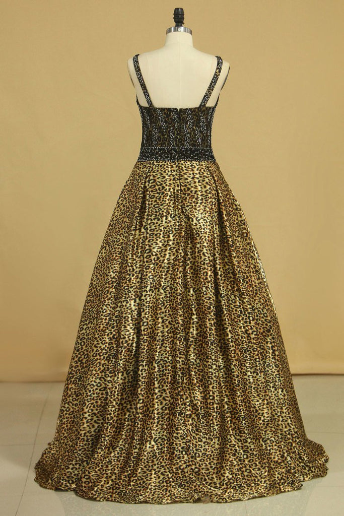 2020 Animal Print V Neck Beaded Bodice A Line Prom Dresses