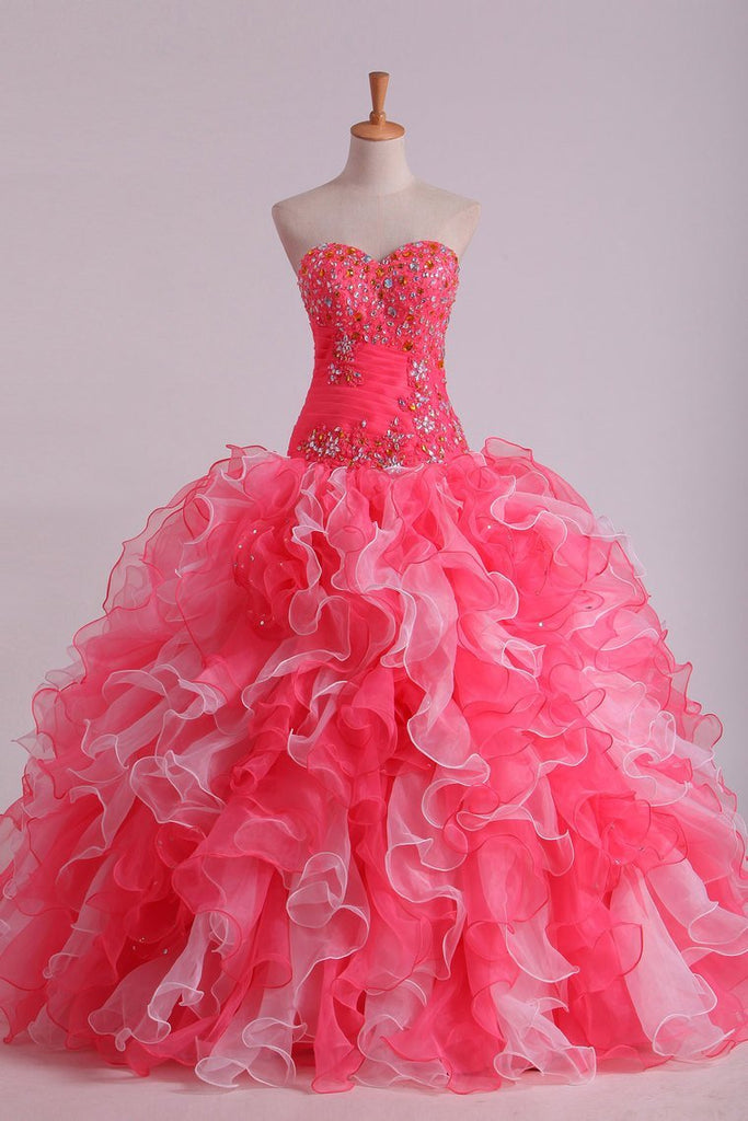 2020 Bicolor Ball Gown Quinceanera Dresses Sweetheart Pleated Bodice With Beads And Applique