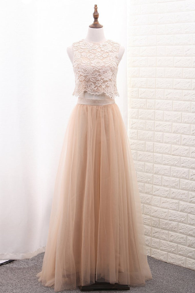 2021 A Line Tulle & Lace Two-Piece Bridesmaid
