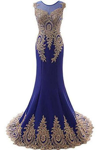 Sleeveless Evening Dress Long Mermaid Prom Gown EXU028