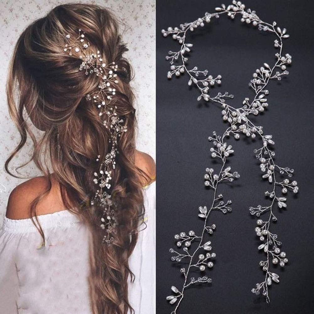 Denifery Extra Long Pearl and Crystal Beads Bridal Hair Bridal Hair Jewelry #SP023