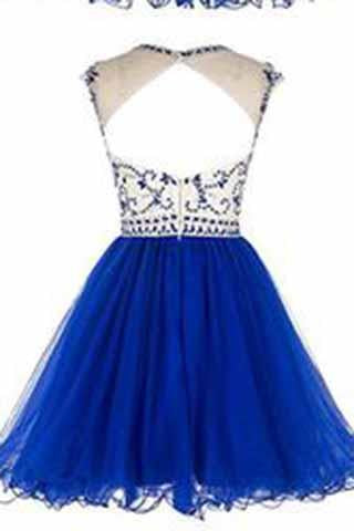 Short Beading Prom Dress Tulle Scoop Cap Sleeve Royal Blue Evening Dress Hollow Back JS921