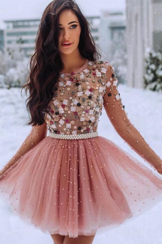 Short Prom Dresses 3D Flowers Beaded Homecoming