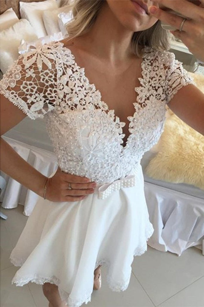 2020 Chiffon V Neck Short Sleeves With Applique A Line Homecoming