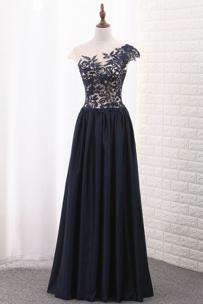 2019 Satin A Line Scoop Cap Sleeve Prom Dresses With Applique