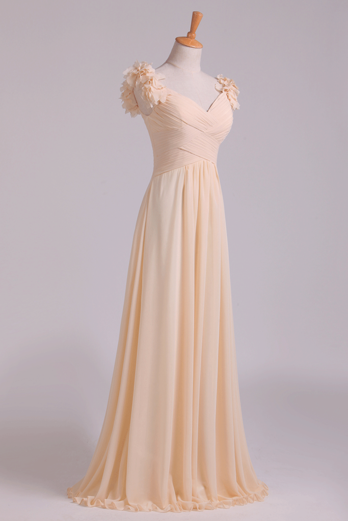 2021 Off The Shoulder Bridesmaid Dresses A-Line Chiffon With Ruffles