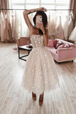 Spaghetti Strap Tea Length Starry Tulle Homecoming Dress Prom