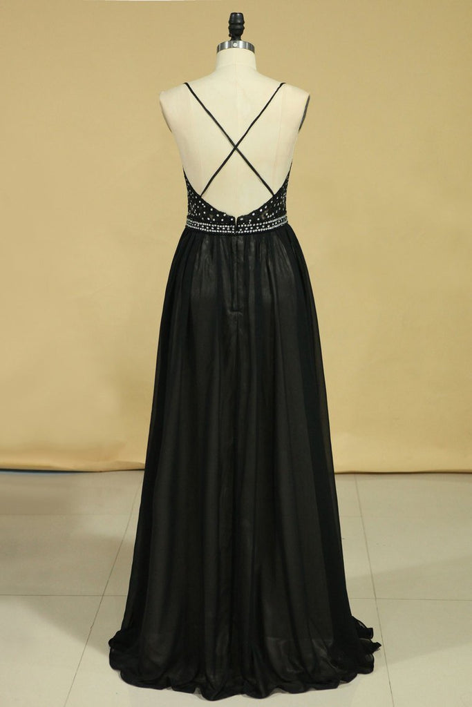 Spaghetti Straps Open Back Prom Dresses Chiffon With Applique And