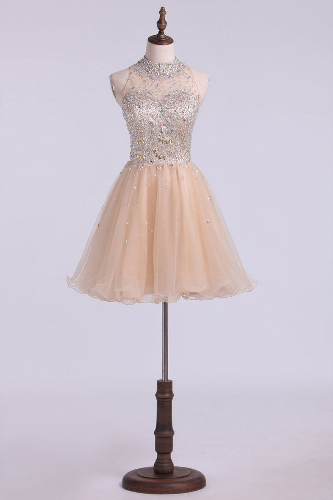 2020 High Neck Homecoming Dresses A-Line Short Beaded Bodice Tulle