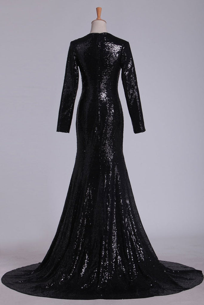 Prom Dresses V Neck Long Sleeves Sequins Sweep Train
