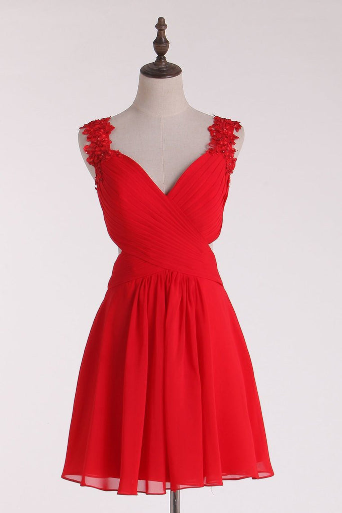 2019 Red Straps Homecoming Dresses A-Line Chiffon With Applique &