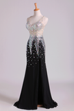 V Neck Prom Dresses Mermaid Chiffon&Tulle Sweep Train With Beading