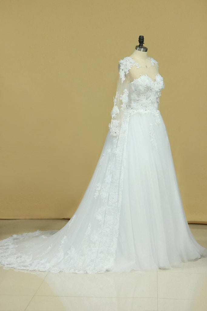 2021 Hot Long Sleeves Wedding Dresses Scoop Tulle With Applique