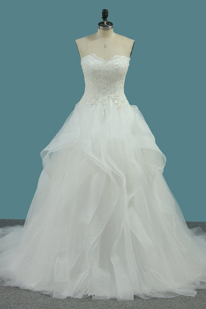 Sweetheart Tulle Wedding Dresses A Line With Applique