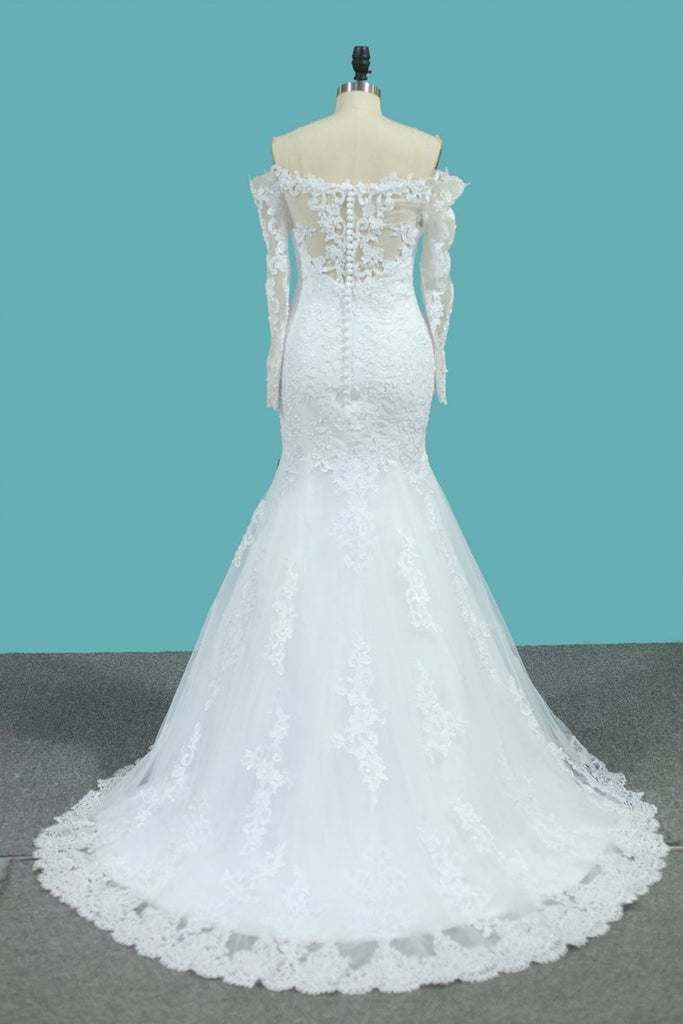 2021 Long Sleeves Mermaid Tulle Off The Shoulder Wedding Dresses With Applique And