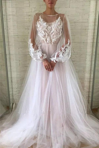 Jewel See Through Long Sleeve Ivory Lace Appliques Prom Dresses, Wedding Dresses SME15520