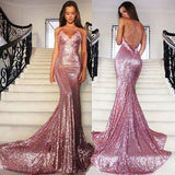 Rose Gold Sequin Mermaid Long Spaghetti Strap Sexy Backless Dresses For Prom JS133