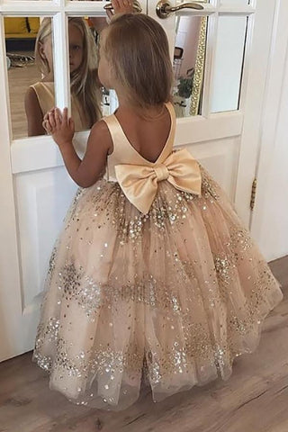 Princess Ball Gown Champagne Sequins Bowknot V Back Flower Girl Dresses SME15291