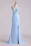 2020 Hot Halter Sheath Prom Dresses With Slit And Beading Chiffon Sweep Train