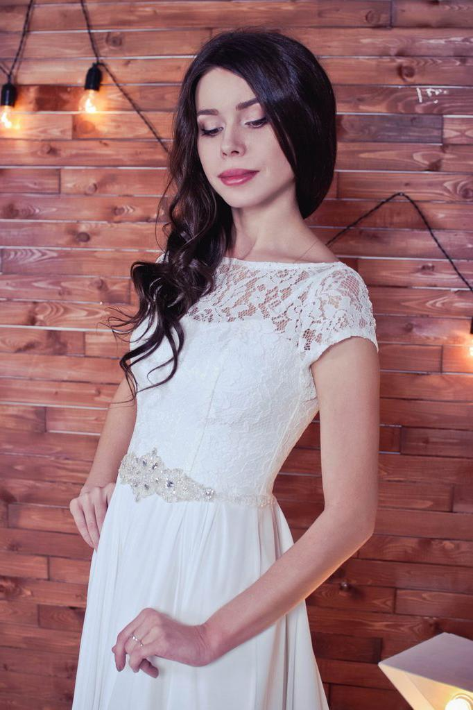 Lace Romantic White Chiffon A-Line Floor-Length Bateau Short Sleeve Wedding Dress JS413