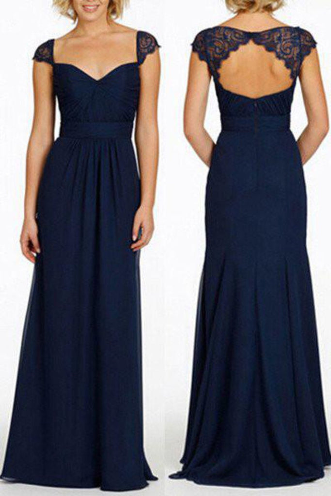 Newest Navy Blue Chiffon Lace Long Prom Dresses Bridesmaid