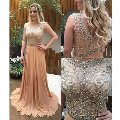 See Through Beaded Long Champagne Scoop Cap Sleeve A-Line Cheap Custom Prom Dresses JS02
