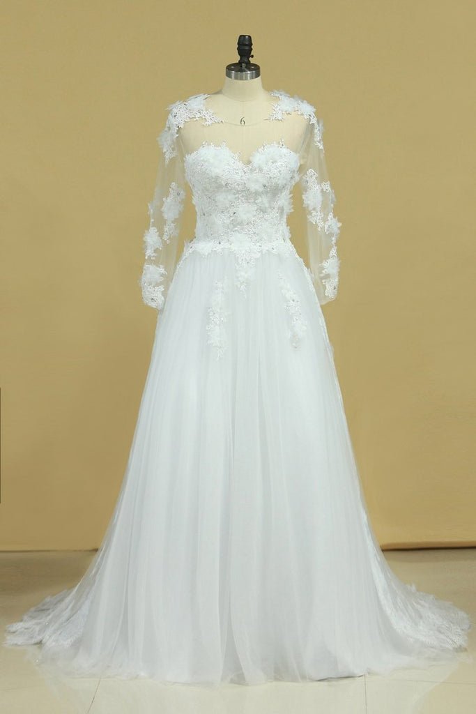2020 Hot Long Sleeves Wedding Dresses Scoop Tulle With Applique