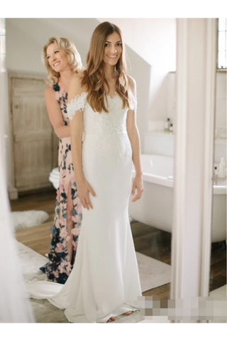 Sweetheart Lace Mermaid Wedding Dress With Off Shoulder Neckline Chapel