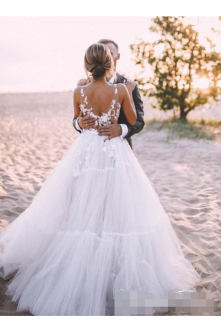 Layered Tulle Skirt Unlined Wedding Ball Gown With Deep V Neck Wedding