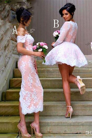 Beautiful Ivroy And Pink Lace Bridesmaid Dresses Prom Dresses Homecoming